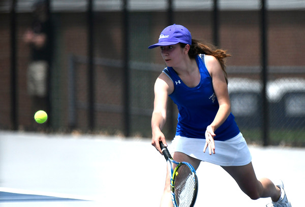 5/26/2018 Mike Orazzi   Staff Old Lyme High Schools Sofia Pecher Kohout during the 2018 Class S Girls Tennis Tournament with St. Paul Catholic High School held at Bristol Eastern High School in Bristol Saturday.
