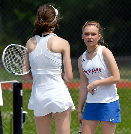 5/26/2018 Mike Orazzi | Staff Old Lyme High Schools Emma Danes and St. Paul Catholic High Schools Carina Fiscella during the 2018 Class S Girls Tennis Tournament with Old Lyme held at Bristol Eastern High School in Bristol Saturday.