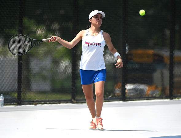 5/26/2018 Mike Orazzi | Staff St. Paul Catholic High Schools Ximena VarelaMarin during the 2018 Class S Girls Tennis Tournament with Old Lyme held at Bristol Eastern High School in Bristol Saturday.