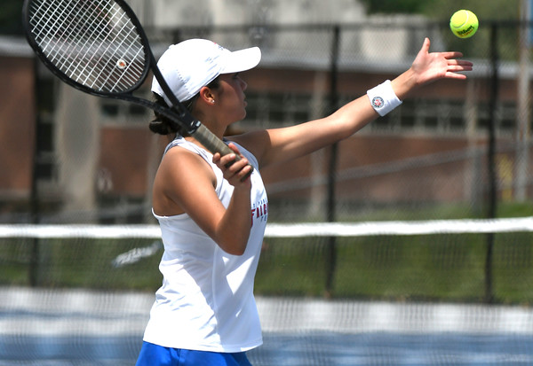 5/26/2018 Mike Orazzi | Staff St. Paul Catholic High School's Ximena VarelaMarin during the 2018 Class S Girls Tennis Tournament with Old Lyme held at Bristol Eastern High School in Bristol Saturday.