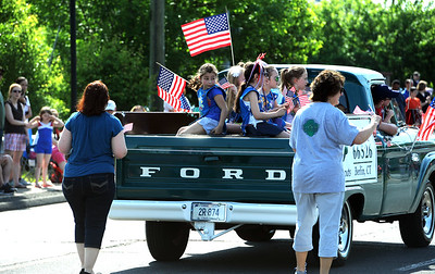 5/26/2018 Mike Orazzi | Staff Girl Scout Troop 66526 during the Berlin Memorial Day Parade on Saturday along Farmington Avenue.