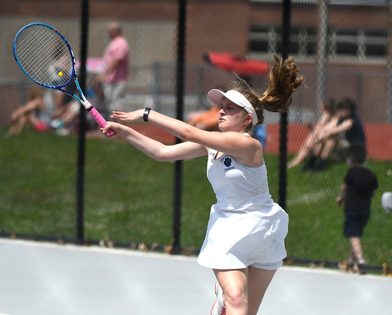 5/26/2018 Mike Orazzi | Staff Old Lyme High Schools Emma Bass during the 2018 Class S Girls Tennis Tournament with St. Paul Catholic High School held at Bristol Eastern High School in Bristol Saturday.
