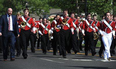 5/26/2018 Mike Orazzi | Staff Members of the Berlin High School Marching Band during the Berlin Memorial Day Parade on Saturday along Farmington Avenue.