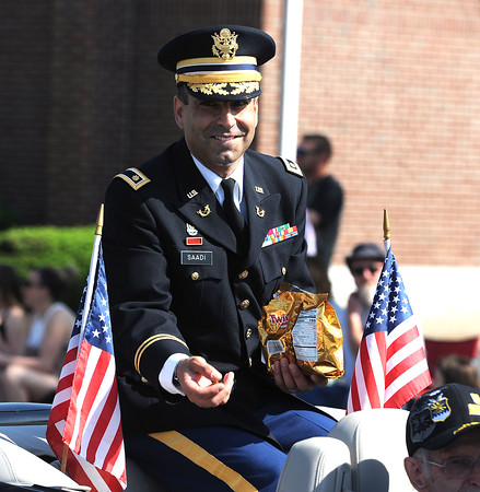 5/26/2018 Mike Orazzi   Staff Connecticut General Assembly as Commissioner of the Connecticut Department of Veterans Affairs Thomas J. Saadi during the Berlin Memorial Day Parade on Saturday along Farmington Avenue.