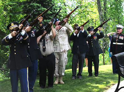 5/26/2018 Mike Orazzi | Staff The 21-gun salute during the Town of Berlin Memorial Day activiites Saturday.