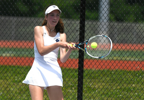 5/26/2018 Mike Orazzi   Staff Old Lyme High Schools Emma Danes during the 2018 Class S Girls Tennis Tournament with St. Paul Catholic High School held at Bristol Eastern High School in Bristol Saturday.