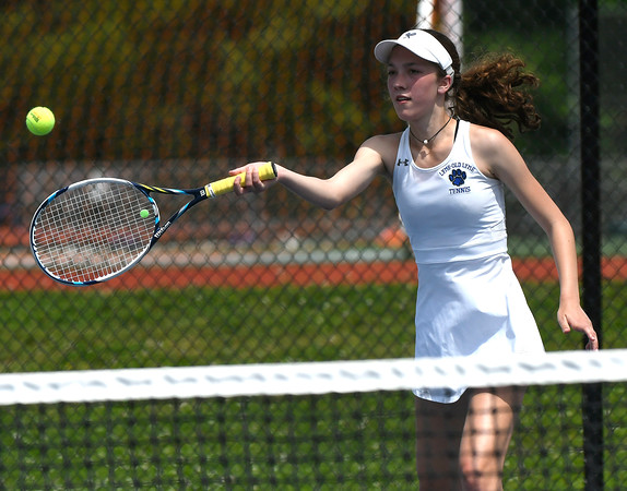 5/26/2018 Mike Orazzi | Staff Old Lyme High Schools Emma Danes during the 2018 Class S Girls Tennis Tournament with St. Paul Catholic High School held at Bristol Eastern High School in Bristol Saturday.