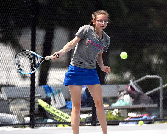 5/26/2018 Mike Orazzi   Staff St. Paul Catholic High Schools Katie Pauloz during the 2018 Class S Girls Tennis Tournament with Old Lyme held at Bristol Eastern High School in Bristol Saturday.