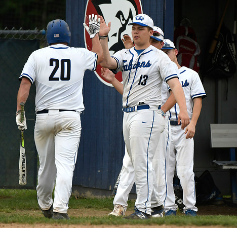 5/29/2018 Mike Orazzi | Staff St. Paul's Ryan Greene (20) and Dylan Gagnon (13) during Tuesday's Class S First Round baseball game with Housatonic Regional in Bristol.