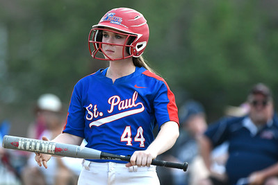 5/29/2018 Mike Orazzi | Staff St. Paul's Abby Poirot (44) during Tuesday's Class S First Round softball game with Windsor Locks in Bristol.