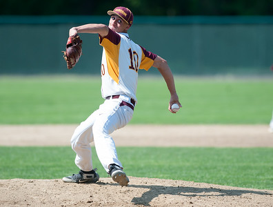 05/30/18  Wesley Bunnell | Staff  New Britain baseball defeated Enfield 4-3 with a walk off bases loaded single in the bottom of the 7th in a first round CIAC Class LL tournament game. Starting pitcher Will Homar (10).