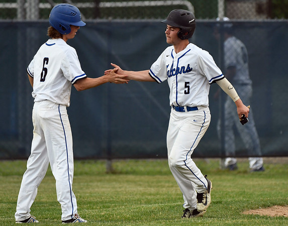 5/29/2018 Mike Orazzi | Staff St. Paul's Sean Crean (6) and Shaun Remillard (5) during Tuesday's Class S First Round baseball game with Housatonic Regional in Bristol.