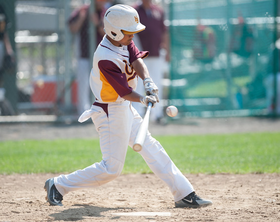 05/30/18 Wesley Bunnell | Staff New Britain baseball defeated Enfield 4-3 with a walk off bases loaded single in the bottom of the 7th in a first round CIAC Class LL tournament game. Francisco Alvarado (4) puts a swing on the ball.