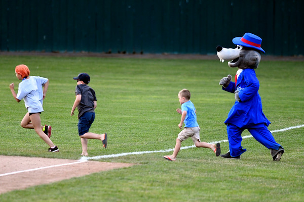 6/28/2017 Mike Orazzi | Staff Bristol Blues Mascot BB at Muzzy Field Wednesday night.
