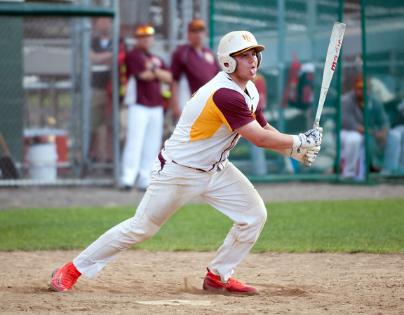 05/30/18 Wesley Bunnell | Staff New Britain baseball defeated Enfield 4-3 with a walk off bases loaded single in the bottom of the 7th in a first round CIAC Class LL tournament game. Michael Gajda (15) fouls off a pitch.