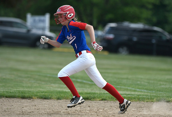 5/29/2018 Mike Orazzi | Staff St. Paul's Abby Aldieri (1) during Tuesday's Class S First Round softball game with Windsor Locks in Bristol.