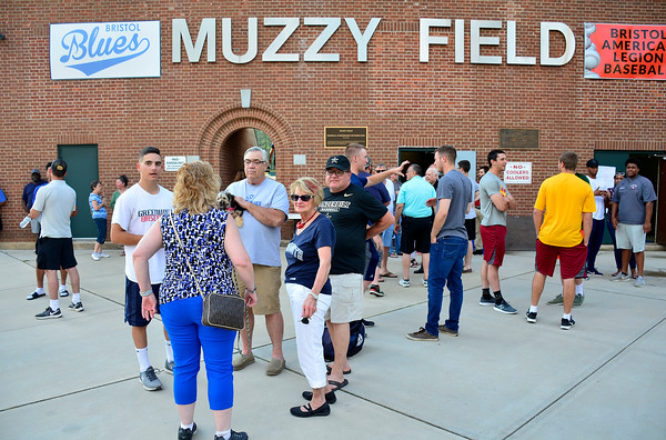 5/29/2018 Mike Orazzi | Staff Host families and Bristol Blues players gather at Muzzy Field for the first time this season in Bristol Tuesday night.