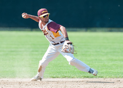 05/30/18  Wesley Bunnell | Staff  New Britain baseball defeated Enfield 4-3 with a walk off bases loaded single in the bottom of the 7th in a first round CIAC Class LL tournament game. Danniel Rivera (1) throws to first for the out.