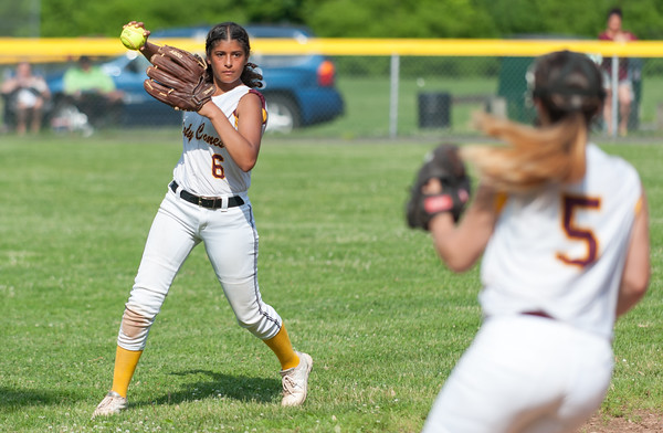 05/30/18 Wesley Bunnell | Staff New Britain softball defeated New Milford 13-10 in a first round CIAC Class LL tournament game on Tuesday afternoon at Martha Hart Park. Left fielder Joseleen Rivera (6) throws back into to Amanda Jacobs (5) after making a catch in shallow left field.