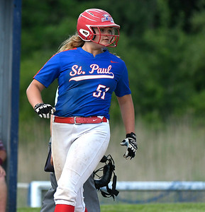 5/29/2018 Mike Orazzi | Staff St. Paul's Katelynn Oullette (51) during Tuesday's Class S First Round softball game with Windsor Locks in Bristol.