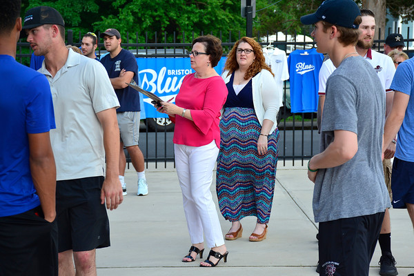 5/29/2018 Mike Orazzi | Staff Bristol Mayor Ellen Zoppo pairs host families and Bristol Blues players at Muzzy Field for the first time this season in Bristol Tuesday night.