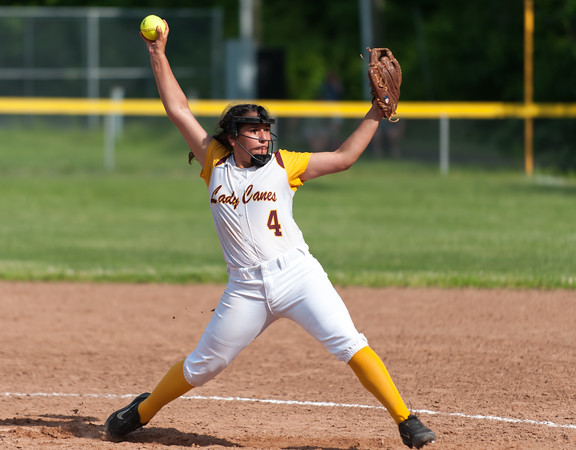 05/30/18 Wesley Bunnell | Staff New Britain softball defeated New Milford 13-10 in a first round CIAC Class LL tournament game on Tuesday afternoon at Martha Hart Park. Starting pitcher Gianna Gonzales (4).