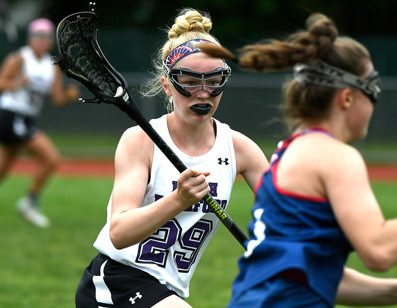 5/31/2018 Mike Orazzi | Staff North Branford High School's Avonlea LeBeau (29) during the girls Class S Quarterfinals lacrosse at North Branford High School Thursday evening.