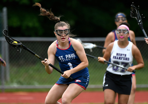 5/31/2018 Mike Orazzi   Staff St. Paul Catholic High School's Emma Cretella (1) during the girls Class S Quarterfinals lacrosse with North Branford at North Branford High School Thursday evening.