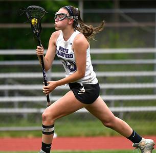 5/31/2018 Mike Orazzi | Staff North Branford High School's Jessie Kilburn (33) during the girls Class S Quarterfinals lacrosse at North Branford High School Thursday evening.