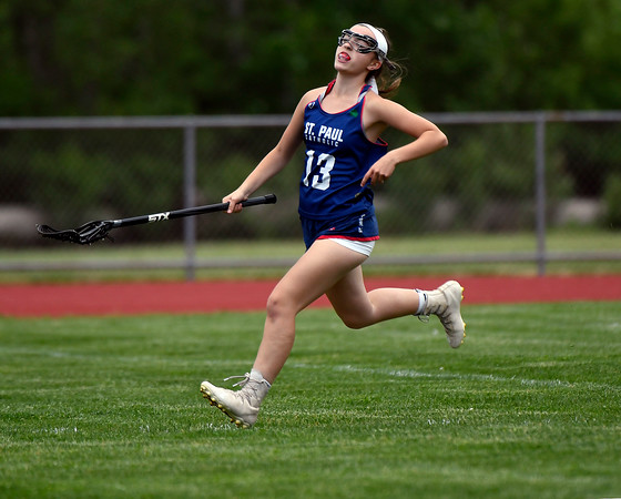 5/31/2018 Mike Orazzi   Staff St. Paul Catholic High School's Olivia Stump (13) during the girls Class S Quarterfinals lacrosse with North Branford at North Branford High School Thursday evening.