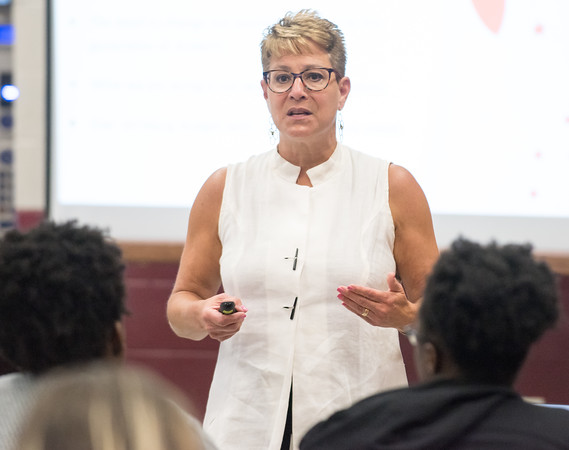 05/31/18 Wesley Bunnell   Staff Superintendent of schools Nancy Sarra gave the first presentation of several to come at New Britain High School on Thursday night detailing the changes in scheduling and curriculum to take place in the CSDNB for the upcoming 2018-19 school year.