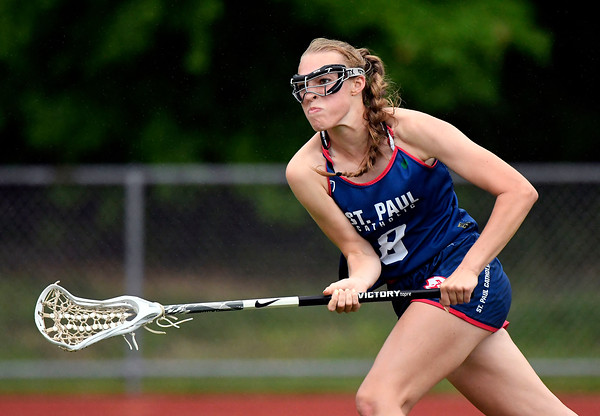 5/31/2018 Mike Orazzi   Staff St. Paul's St. Paul's Addison Davis (8) during the girls Class S Quarterfinals lacrosse at North Branford High School Thursday evening.
