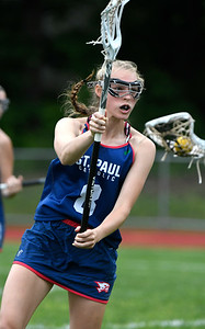 5/31/2018 Mike Orazzi | Staff St. Paul's Addison Davis (8) during the girls Class S Quarterfinals lacrosse at North Branford High School Thursday evening.