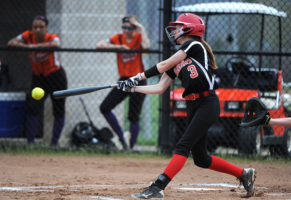 5/3/2018 Mike Orazzi | Staff Wamogo's Samantha Sylvester (3) during Thursday's softball game with Terryville in Plymouth.