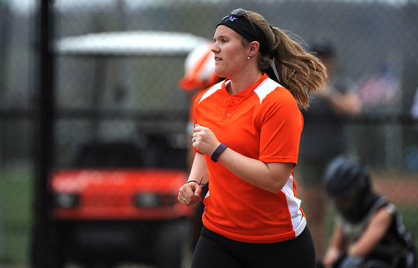 5/3/2018 Mike Orazzi | Staff Terryville softball coach Stephanie Konopaske during Thursday's softball game with Wamogo in Plymouth.