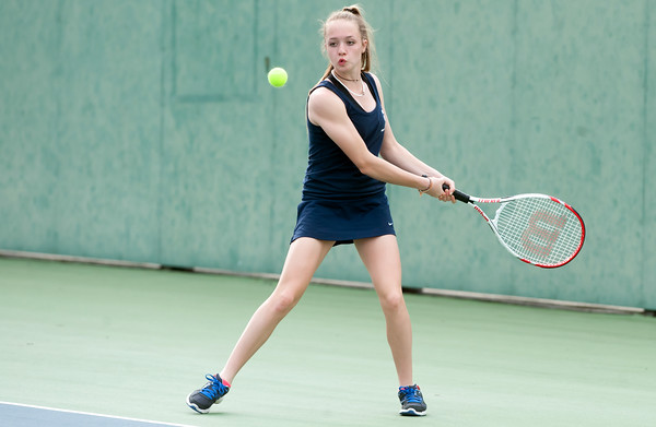 05/03/18 Wesley Bunnell | Staff Newington's Mara Klin during her match against Bristol Eastern's Julia O'Leary on Thursday afternoon at Newington High School.