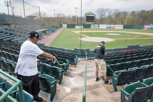 05/03/18 Wesley Bunnell | Staff Final prep work for the upcoming season was taking place at New Britain Stadium on Thursday afternoon with opening day Friday. Workers power wash the lower seating area.