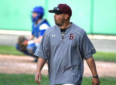 5/2/2018 Mike Orazzi | Staff Bristol Central baseball coach Bunty Ray during Wednesday's baseball game with Bristol Eastern at Muzzy Field.