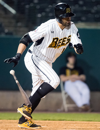 05/04/18 Wesley Bunnell | Staff The New Britain Bees held opening night at New Britain Stadium on Friday night against the Road Warriors. Ozney Guillen (13)
