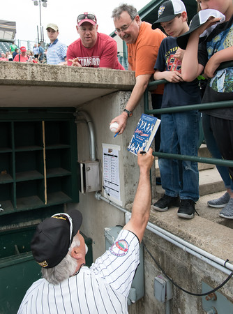 05/04/18 Wesley Bunnell | Staff New Britain Bees Manager Wally Backman signs autographs prior to the Bees first home game of the 2018 season on Friday night at New Britain Stadium.