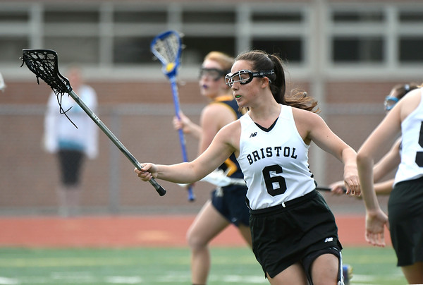 5/8/2018 Mike Orazzi | Staff Bristol Co-Op lacrosse's Leah Policarpio (6) during girls lacrosse at BEHS Tuesday.