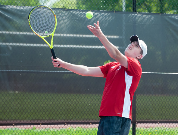 05/08/18 Wesley Bunnell | Staff Berlin boys tennis hosted New Britain on Tuesday afternoon at Berlin High School. Berlin's Thomas Fijalkowski played New Britain's Seagan Foster.