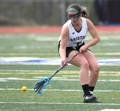 5/8/2018 Mike Orazzi | Staff Bristol Co-Op Lacrosse's Madelyn Bourassa (7) during girls lacrosse at BEHS Tuesday.
