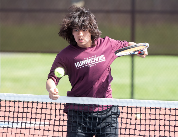 05/08/18 Wesley Bunnell | Staff Berlin boys tennis hosted New Britain on Tuesday afternoon at Berlin High School. New Britain's Jose Garcia played in a doubles match with teammate Saul Rodriguez against Berlin's Stephen Jendreau and Noah Mihalko.