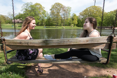 05/09/18  Wesley Bunnell | Staff  CCSU students Melody Zielke, L, and Ivy Tebbetts talk and enjoy the warm weather at Stanley Quarter Park on Wednesday afternoon.