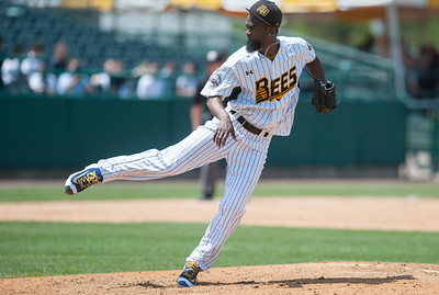 05/09/18  Wesley Bunnell | Staff  The New Britain Bees held a special day game with a packed crowd of area school children for their game versus the Long Island Ducks. Sam Gervacio (12) pitches in relief.