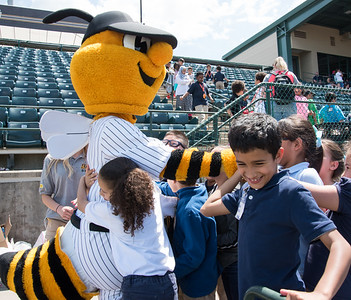 05/09/18  Wesley Bunnell | Staff  The New Britain Bees held a special day game with a packed crowd of area school children for their game versus the Long Island Ducks.  Third graders Rorbelis Cruz hugs Sting as classmate Hamzah Al-Malhi, R, smiles after high fiving Sting.