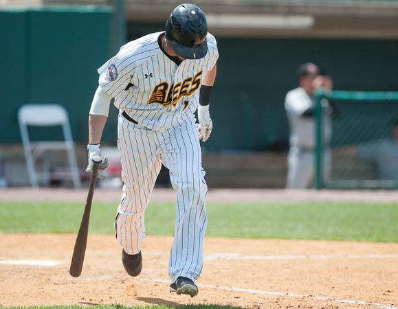 05/09/18 Wesley Bunnell | Staff The New Britain Bees held a special day game with a packed crowd of area school children for their game versus the Long Island Ducks. Reid Brignac (15) runs with head down to first base after putting the ball in play.