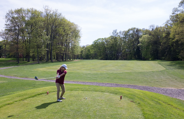 05/09/18 Wesley Bunnell | Staff Berlin girls golf vs New Britain on Wednesday afternoon at Timberlin Golf Course in Berlin. Morgan Giantonio on the tee.