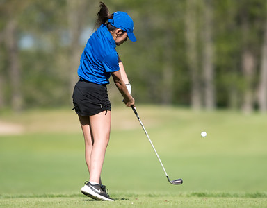 05/09/18  Wesley Bunnell | Staff  Berlin girls golf vs New Britain on Wednesday afternoon at Timberlin Golf Course in Berlin. Berlin's Marisa Marquis tees off.